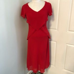 Red beaded short sleeve formal gown